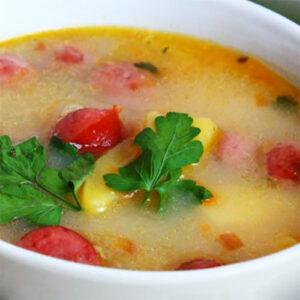 Гороховый суп с охотничьими колбасками и сыром   Кулинарные рецепты / Very-stylish
